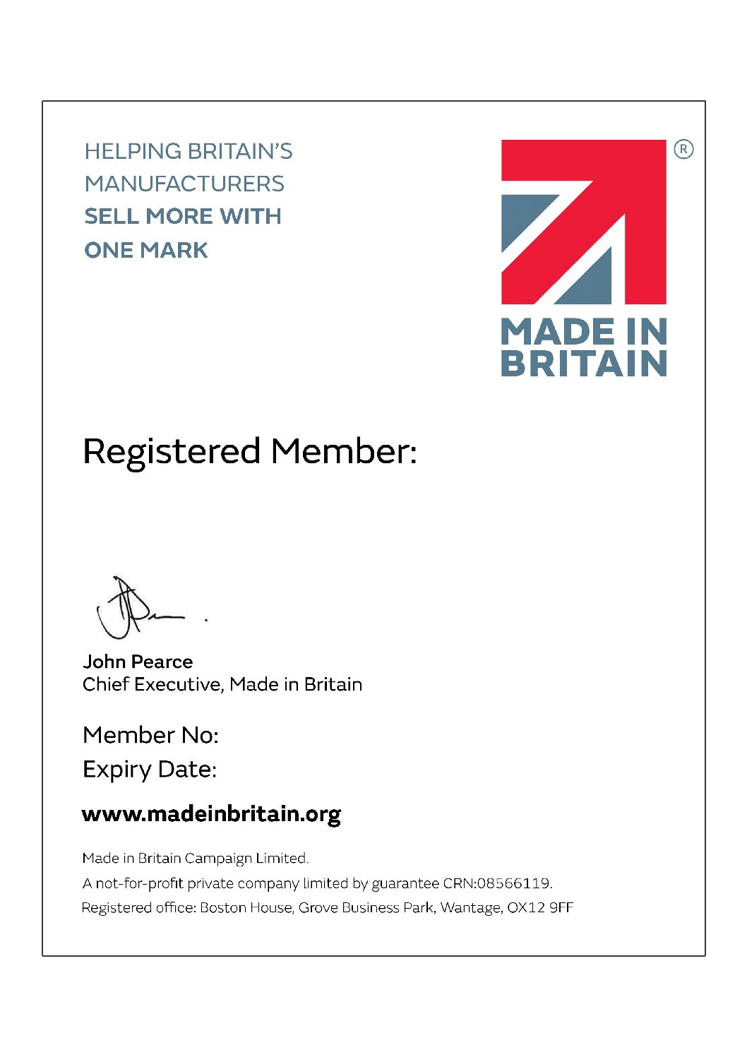 We are now members of Made In Britain
