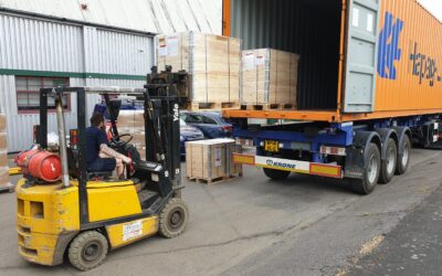 Stock LP Burners being loaded into a container ready to ship to the USA